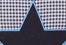 Knuffelkussen Star blue applicatie