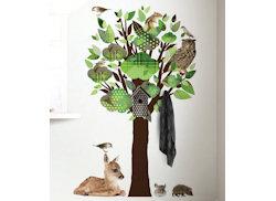 Muursticker boom dieren groen