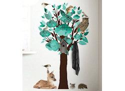 Muursticker boom dieren turquoise