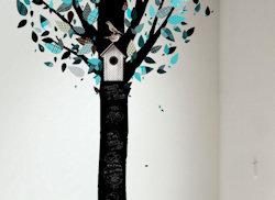 Schoolbordsticker boom turquoise
