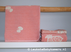Wiegdeken Vlinders katoen roze