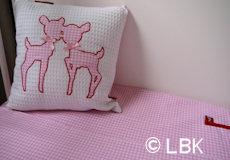 Dekbedovertrek ledikant Hertjes pink combinatie