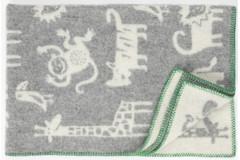 Ledikantdeken Jungle wol grijs dessin