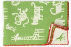 Ledikantdeken Jungle wol groen dessin