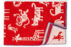 Ledikantdeken Jungle wol rood dessin
