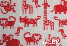 Ledikantdeken Jungle wol rood afwerking