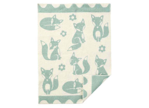 Wiegdeken Fox wol duck egg blue