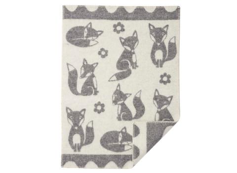 Wiegdeken Fox wol grijs