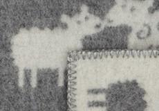 Wiegdeken Schaap wol grijs afwerking
