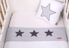 Wieglaken Stars cool grey ruitje