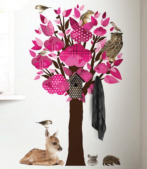 Muursticker Boom dieren roze