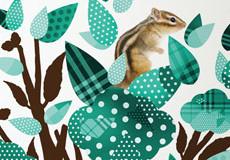 Muursticker Boom dieren turquoise detail