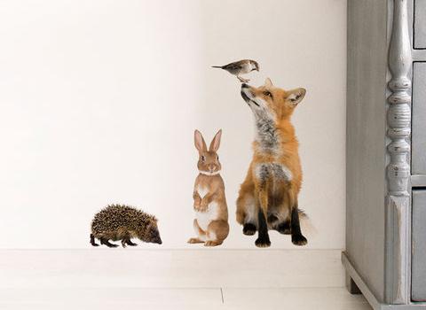 Muurstickers Dieren set vos konijn
